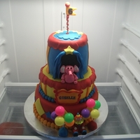Carnival Cake Tiered cake with gumpaste clown and elephant
