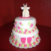 Baby Shower Tiered cake in rolled fondant with gumpaste angel