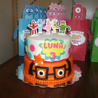 Yo Gabba Gabba tiered cake in rolled fondant with plastic figurines