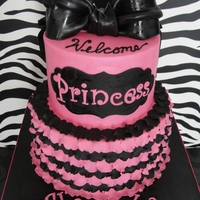 Pink And Black Baby Shower strawberry cake with cream cheese filling. Buttercream filling with fondant detail. Been wanting to try this effect for some time now. I...