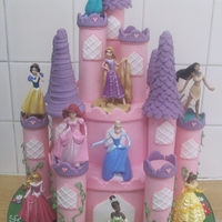 Princess Castle Cake 2 tier Madeira sponge cake with pastillage towers.