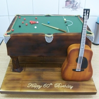Snooker Table & Guitar Cake My 1st attempt at airbrushing a cake!