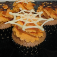 Orange & Spiderweb Halloween Cupcakes