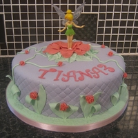 Tinkerbell Cake 10 inch round cake decorated with handmade edible decorations. Figure is not edible and not made by me.