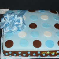 Baby Boy Baby Shower The bow is fabric, but the rest is fondant. It was designed to match the invitation.