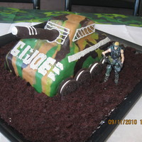 Camo Tank My friends boy was having a GI Joe theme party. I made an additional camo round cake to up the serving for the party and placed his...