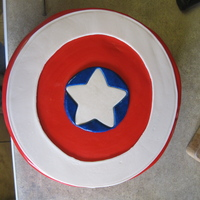 Captain America Grooms cake made at the last minute when the Aunt of the bride requested a surprise for them, after they could not afford a grooms cake on...