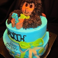 "Boys Birthday Cake All icing with fondant accents, the monkey on top is the birthday boys ""lovie"""