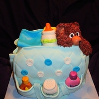 Diaper Bag Cake all cave, covered in mmf with all accent pieces made of mmf.