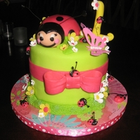 Sophie Bug's Cake  This cake and cupcakes was made for a little girl's first birthday party. The cake was her smash cake. All figures are edible and made...
