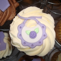 Purple Baby Shower Bib Cupcake Custom made fondant bib with purple rosette