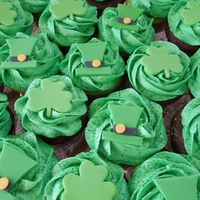 St. Patty's Day Cupcakes Green tinted vanilla & devils food chocolate cupcakes with green tinted vanilla buttercream and green sugar sprinkles topped with...