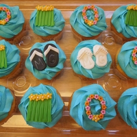 "Tropical Bridal Shower Cupcakes Tropical theme bridal shower cupcakes. Both the bride & groom-to-be's initials are ""MC"" so we made them monogrammed flip..."