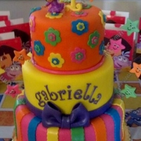 Bright Dora 1St Birthday Cake Bright & bold Dora the Explorer cake. 3 tier 6,8 & 10 inch cake. Vanilla with cookies & cream filling. Covered in rolled...