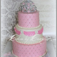 Pampered Princess Cake   gumpaste crown, wand, and slipper accents this 3-tier pampered princess cake.