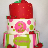 Strawberry Shortcake All tiers are strawberry cake, buttercream filling, top tier is covered with fondant. The Strawberry Shortcake doll was added at the...