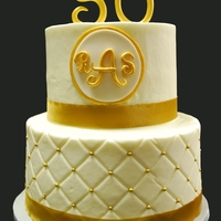 50Th Wedding Anniversary golden wedding anniversary, 2 tier WASC, buttercream, diamond pattern with gold dragees.