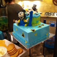 Mickey Mouse 1St Birthday Butter cream cake. Mickey and number are sugarpaste.