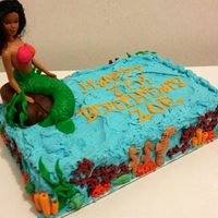 Mermaid Birthday Sheet Cake Cake with fondant accents