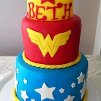 Wonder Woman Tiered Cake Tiered cake with fondant decoration accents