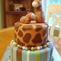 Giraffe Baby Shower Cake  This was a baby shower cake for a friend who specifically wanted these colors and the stripes and giraffe print layers with the mommy and...