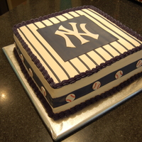 "Ny Yankees Cake  This was a cake I made for my husband - a HUGE Yankees fan! Didn't have much time to make it, so it's fairly ""simple""..."