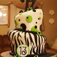 Zebra And Lime Green Zebra and Lime Green cake design. :) Monogram on top is made of gumpaste, airbrushed black and covered in black disco dust while it was wet...