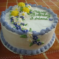 Bithday Cake For Friend   Flowers are made of fondant & it is a tres leches cake!