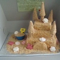 Sandcastle Cake this cake was made as a donation to a cancer survivors event :) the sand is graham crackers and the towers are made of pretzels and ice...