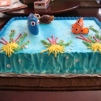 Finding Nemo Cake! This was airbrushed and they are plastic figures ha!