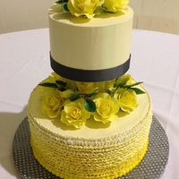 Yellow/gray Wedding! First Wedding Cake I've Done. Lemon cake with SMBC filling/covering. Ombré effect on the bottom tier, handmade gumpaste roses/leaves. This was my first...