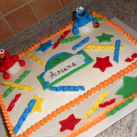 Elmo And Cookie Monster Birthday Cake Vanilla BC. All accents done in fondant.
