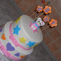 Hello Kitty Cake All buttercream except fondant accents. Stars w name are dusted with cake glitter.