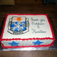 504Th Mico Crest Cake done for my husband's military company. 504th MICO crest done via FBCT. Chocolate cake iced in vanilla BC. Stars done in satin...