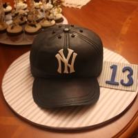 Yankee Hat Birthday Cake Vanilla Cake with Chocolate Buttercream. The hat is covered in fondant and then airbrushed the dark blue color.