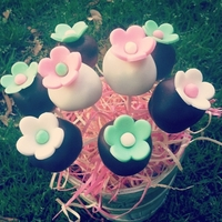 Mothers Day Cake Pop Bouquet In this basket there are mint chocolate, cookie dough, and chocolate hazelnut pops!