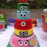 Yo Gabba Gabba Cake 5 Tiered cake of all the Yo Gabba Gabba characters! The red and blue were styrofoam because the party was only for 50 people. Inside was...