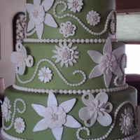Green And White Fantasy Flower Wedding Cake This was my entry in the 2012 CO/WY ICES sugar art competition, Sweet TImes in the Rockies. I placed 2nd in the Adult Beginners Division...