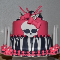 Monster High   Chocolate cake with toblerone/raspberry mousse. Crumbcoated in Islandic buttercreme.Covered in fondant.
