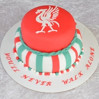 Liverpool Cake   Chocolate cake with strawberry and pistacie filling. covered in fondant. The bird is cut out of fondant.