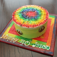 Tie Dye Cake Buttercream Tie Dye Cake with hand cut peace signs