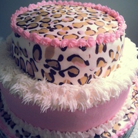 Triple Layered White Pound Cake With Leopard Butter Cream Triple layered white pound cake with leopard butter cream.