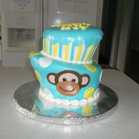 Boy Monkey Baby Shower Cake Topsy turvy boy monkey baby shower cake. www.thecakeprocess.weebly.com