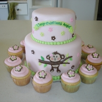 Girl Monkey Baby Shower Cake Girl Monkey baby shower cake. http://thecakeprocess.weebly.com/photo-gallery.html