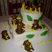 9 Monkeys My grandaughter wanted a monkey cake for her 9th birthday. My first attempt at fondant animals.