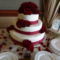 Red Velvet 3 Tiered Wedding Cake With Roses Red Velvet 3 tiered Wedding Cake with Roses