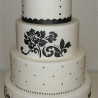 Black And White a black and white wedding cake for a bridal show