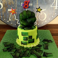 Mini Hulk Cake Mini hulk smash cake I made for my son's 8th birthday. It's vanilla cake coloured in purple with a green frosting. Made up of 4...