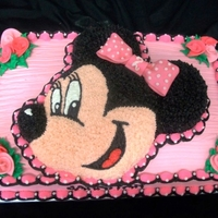 Minnie Mouse Sheet Cake A 12x18 sheet vanilla sheet cake with a strawberry Minnie Cake on top. Done for my cousin's 2nd birthday. The theme was pink, white...