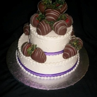 "Chocolate Strawberry Wedding Cake 6""/10"" fruit cakes, iced in buttercream. Finished with a simple swiss dots design and real ribbon borders. In lieu of flowers,..."